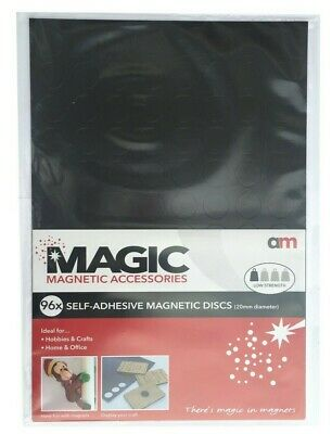 96 Self Adhesive Flexible Magnetic Circle Discs Magnetics Fridge Hobbies Crafts 2