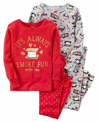 NEW Carter/'s Girls 4 Piece PJs S/'More Fun Cotton NWT 2T 3T Treats
