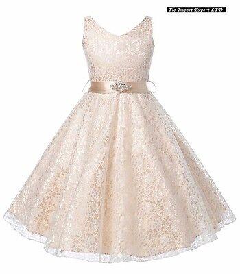 ... Vestito Bambina Abito Cerimonia Pizzo Elegante Girl Party Princess Dress  CDR057 2 f599323b0b4