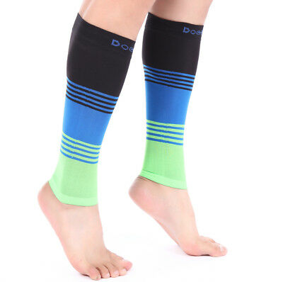 3e020796354 ... Doc Miller Calf Compression Sleeve 1 Pair 20-30mmHg Varicose Veins  BLK BLU
