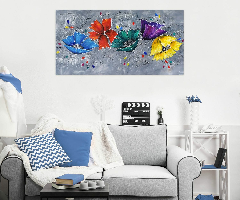 Acryl Gemälde 'COULEUR IM GRAPHIT' | HANDGEMALT | Leinwand Bilder 140x70cm 4