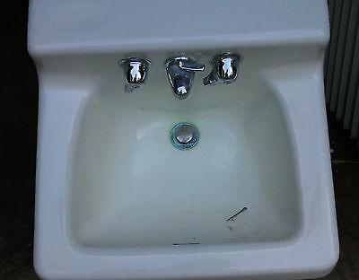 Sink Cast Iron White Porcelain Shelf Top Wall Mount Bathroom Vintage