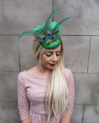 Green Sequin Peacock Statement Feather Fascinator races pillbox a vintage 4997