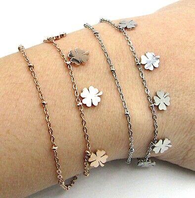 Bracciale donna in acciaio inox con quadrifoglio portafortuna braccialetto da 4