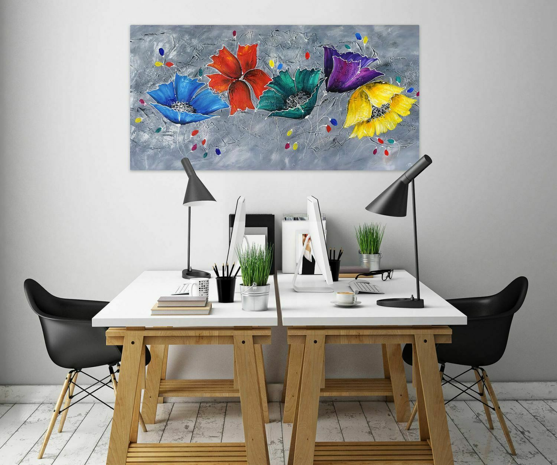 Acryl Gemälde 'COULEUR IM GRAPHIT' | HANDGEMALT | Leinwand Bilder 140x70cm 3