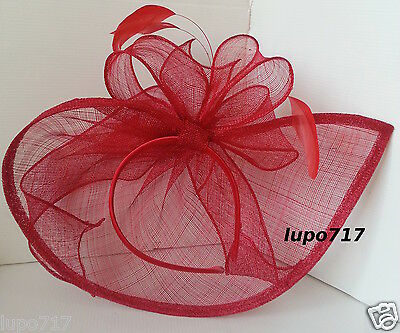 Red Sinamay Feathers Hat Fascinator Wedding Ascot Race Hen Party Ladies Day New 7