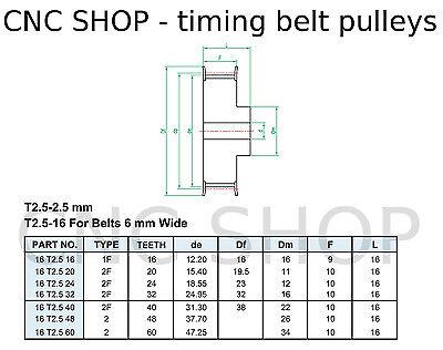 T2.5 6mm WIDE BELT 16T 5mm BORE TIMING PULLEY CNC MACHINE 3D PRINTER MOTOR DIY