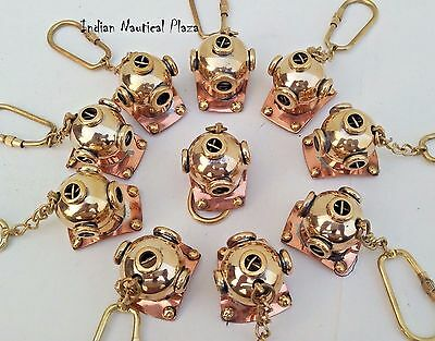 Lot Of 10 Pc New Brass Divers Helmet Keychain Nautical Maritime Yatching Diving 2