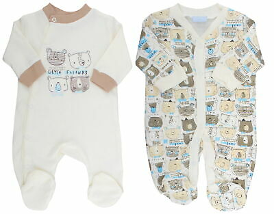 Rock A Bye Lily /& Jacks Baby Boys 2 Pack Sleepsuits