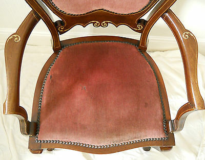 Antique Original Walnut Elbow Chair,Rose Coloured Upholstery,Beautiful Inlay. 6