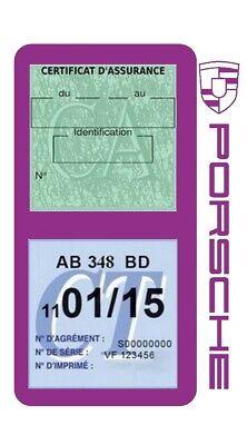Porte vignette assurance PORSCHE double étui voiture Stickers auto rétro 7