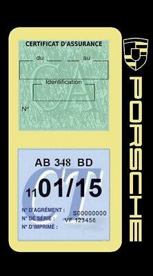 Porte vignette assurance PORSCHE double étui voiture Stickers auto rétro 4