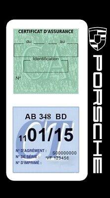 Porte vignette assurance PORSCHE double étui voiture Stickers auto rétro 5