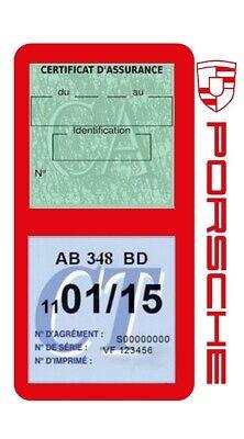 Porte vignette assurance PORSCHE double étui voiture Stickers auto rétro 9