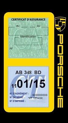 Porte vignette assurance PORSCHE double étui voiture Stickers auto rétro 6