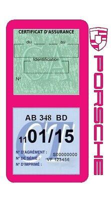 Porte vignette assurance PORSCHE double étui voiture Stickers auto rétro 10