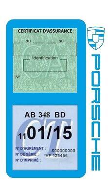 Porte vignette assurance PORSCHE double étui voiture Stickers auto rétro 2