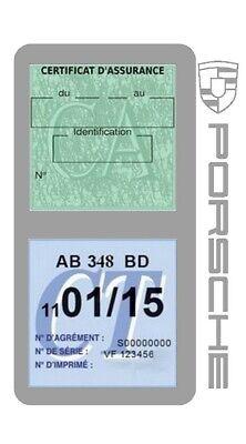 Porte vignette assurance PORSCHE double étui voiture Stickers auto rétro 12