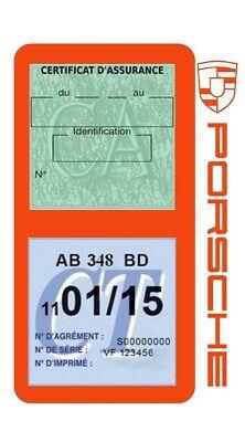 Porte vignette assurance PORSCHE double étui voiture Stickers auto rétro 8