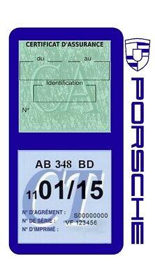 Porte vignette assurance PORSCHE double étui voiture Stickers auto rétro 3