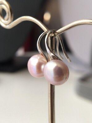 RosaPerlen Ohrringe|925 Sterlingsilber|süßwasserperlen 8-9mm A Qualität