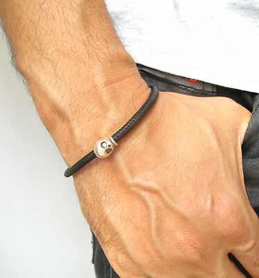 Skull sterling silver black leather bracelet bike bangle sterling bead men cuff 5