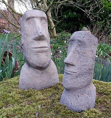 Tiki 3 Sizes Garden Stone Statue Melmar Stone Easter Island Head Moai