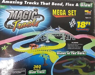 360PCS Magic Tracks Race Track With LED Race Cars Glow In The Dark Tracks//2 cars