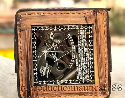 Vintage Solid Brass Maritime Sextant Nautical Survey Navy Sextant W/ Leather Box 5