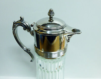 """Antique Silver Plated """"EP Zink Italy"""" 14in Glass Water Pitcher w/ Ice Container 3"""