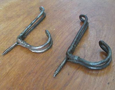 2 Matching Antique Victorian Thick Iron Wire Coat or Hat Hooks,3 Inch 2