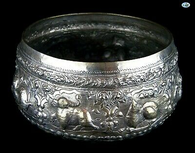 Rare Antique 1800s Large Heavy Burmese Myanmar Repoussé All Animals Silver Bowl 2