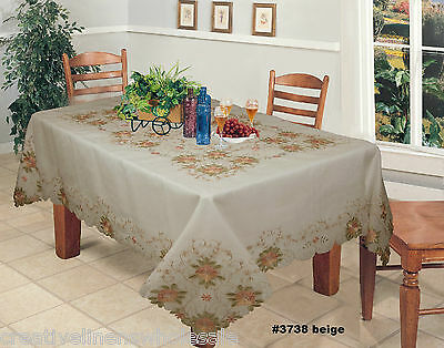 """Embroidered Peach Floral Sheer Tablecloth 70x104"""" & 12 Napkins BEIGE #3738E 2"""