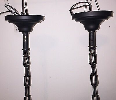 """22""""  Long Industrial Pendant Light Pair With Military Green Shades! 3"""