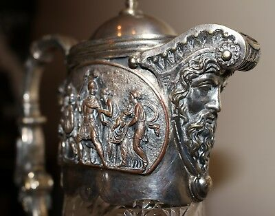 antique 1800's JOHN GRINSELL & SONS silver plate crystal figural claret pitcher 8
