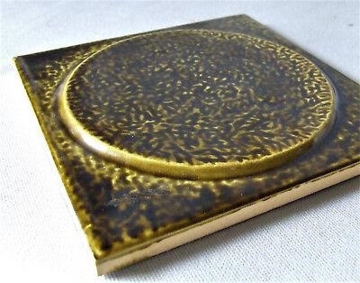 Vintage 1970 Tile Malkin Johnson Raised Disc Bronze Green Panton Era England 3