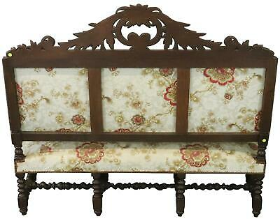 Settee Renaissance Hunting French Antique 1880 Carved Oak  Floral Uph 12
