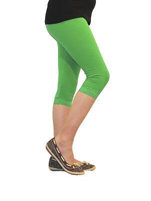 Mädchen Kinder Leggings Leggins Capri 3/4 kurz mit Spitze kurze Hose Baumwolle 3