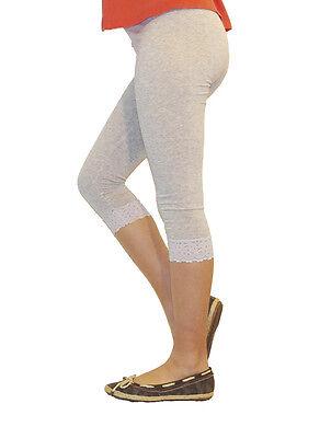 Mädchen Kinder Leggings Leggins Capri 3/4 kurz mit Spitze kurze Hose Baumwolle 2