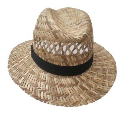 Chapeau de paille herrenhut erntehut Jardin Fête vacances trilby paille taille 55-61