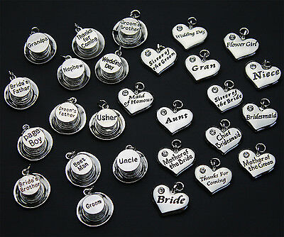 Wedding Heart & Top Hat Charms - Silver Plated 2