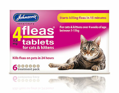 Johnson's 4 Fleas Cat Flea Tablets 6 Tablets Pack of 2 3