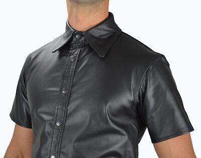 AW-666 Lederhemd Schwarze leder hemd,Soft leather shirt en cuir,Lederuniform 5