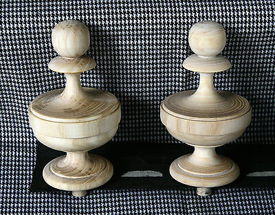 2 Wood FINIALS 105 mm for Antique Wall Clock / Barometer / Mirror / Furniture #8 2 • EUR 16,40