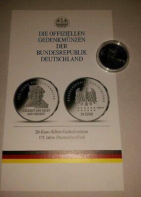 Silbermünze Brd 20 Euro 2016 175 Jahre Deutschlandlied Limitiert