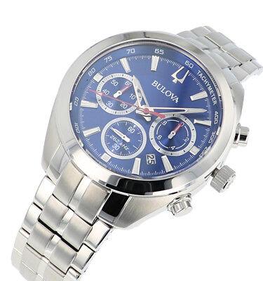 Bulova Men's 96B285 Quartz Chronograph Blue Dial Silver-Tone 44.5mm Watch 4