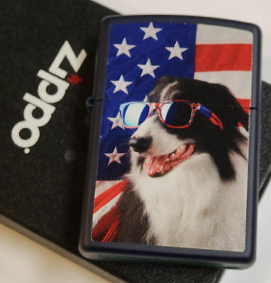 Zippo lighter American Flag Dog SUNGLASSES RARE NEW IN BOX