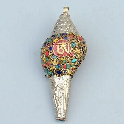 Collect Old Sea Snail Inlay Miao Silver & Turquoise Carve Flower Delicate Statue 2