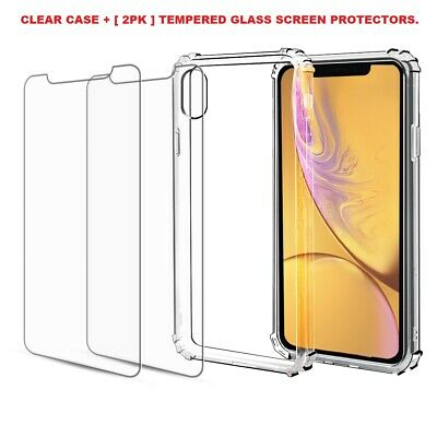 Case + 2 Screen Protector iPhone 11 Pro Max XR Case 6S 7 8 Plus X XS Cover Clear 2