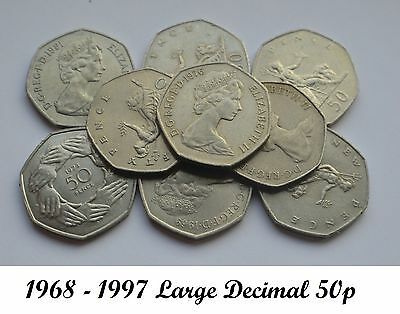 1969 TO 1997 ELIZABETH II CUPRO NICKEL LARGE DECIMAL 50p- CHOICE OF YEAR / DATE 3